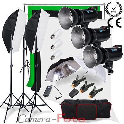Godox 900W Digital Flash Lighting Kit Studio LED Cooling Fan 3 Background +Stand