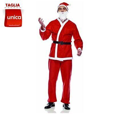 Costume Babbo Natale Eco Adulti Taglia Unica con Cappello Barba Abito Natalizio