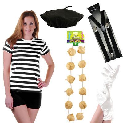 Ladies French Mime Artist Circus Fancy Dress T-Shirt Beret Braces Gloves (Mime Kostüm Shirt)