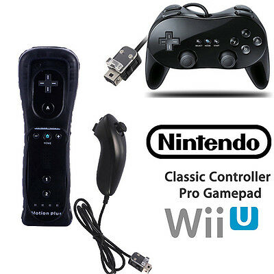Built in Motion Plus Wiimote Controller Nunchuck +Classic Gamepad For Wii &Wii U