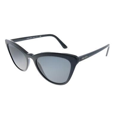 New Prada Catwalk PR 01VS 1AB5S0 Black Plastic Cat-Eye Sunglasses Grey (Polycarbonate Lens Vs Plastic)