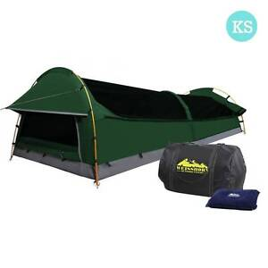 AUS FREE DEL-King Single Camping Canvas Swag Tent Green w Pillow Sydney City Inner Sydney Preview