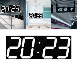 Digital Wall Clock LED Alarm Clock W/Stopwatch 12/24 hour Display OFFICE Kitchen