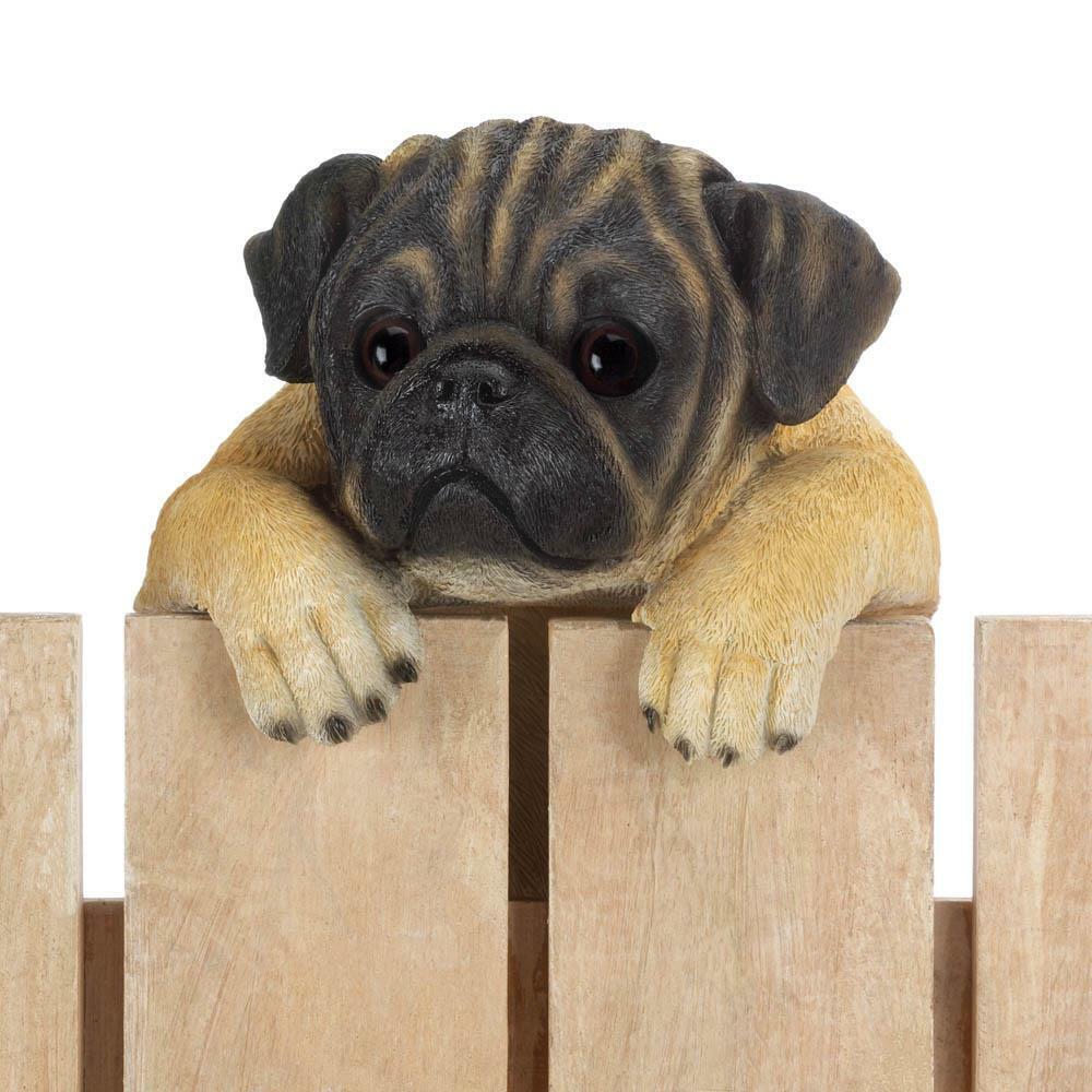 15 Tall Daisy Climbing Pug Puppy Hanging Figurine Fence Yard Art Statue Ebay