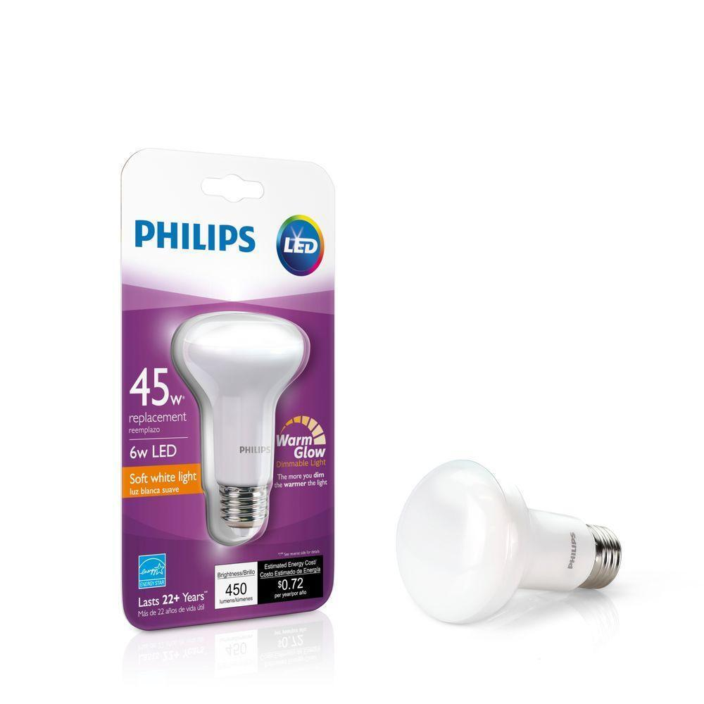 4- pack /  Philips Led Soft White Br20 45w Light Bulb Warm G