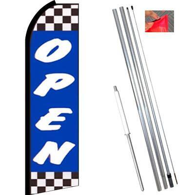 Open Flutter Feather Flag Kit Bundle Flag Pole Ground Mount