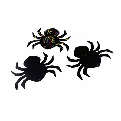 3 GIANT HALLOWEEN SPIDER Scratch Art FRIDGE MAGNETS for Kids Design Craft Gift
