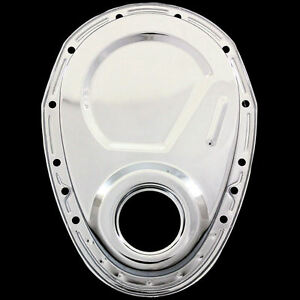 chrome timing cover fits small block chevy 327 350 383 400. Black Bedroom Furniture Sets. Home Design Ideas