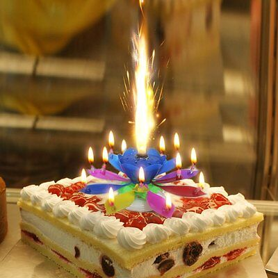 Music Singing Candle Spin Lotus Happy Birthday Wedding Celebrating Cake Candles - Singing Happy Birthday