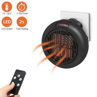 900W Portable Ceramic Space Heater-Wall-outlet Adjustable Th