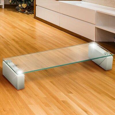 Lobby TV Unter Schrank Glas Regal Lowboard Sideboard MDF hochglanz weiß Tisch