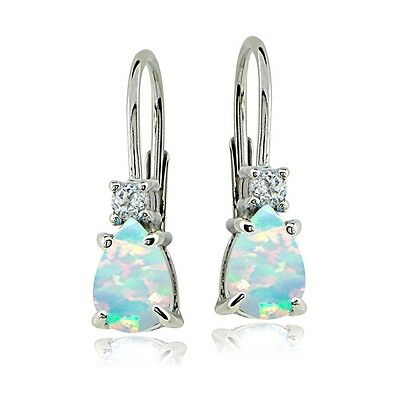 Created White Opal Stone - Sterling Silver Created White Opal & White Topaz Teardrop Leverback Earrings