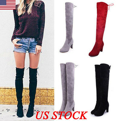 WOMENS LADIES OVER THE KNEE THIGH HIGH BOOTS LACE UP BLOCK HEEL SHOES BOOTS SIZE ()