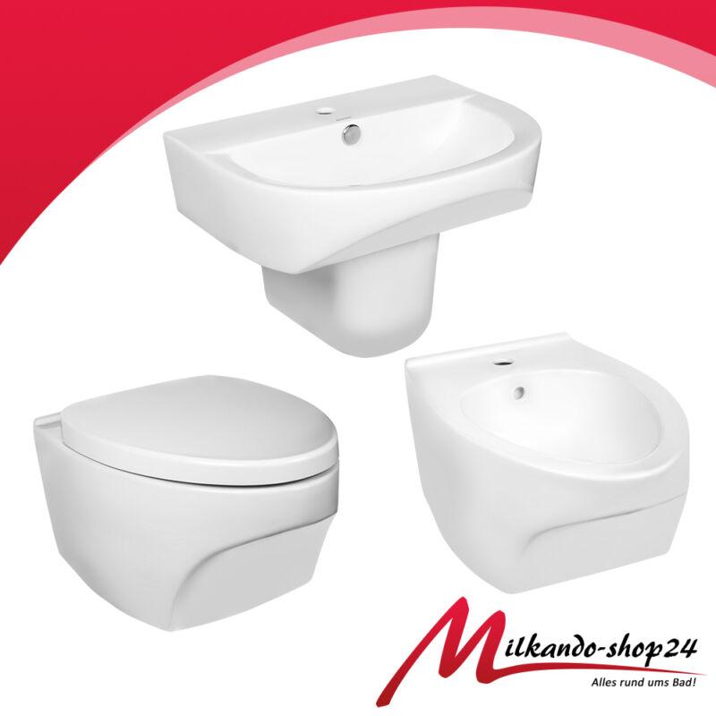 bad komplett set waschbecken keramik waschtisch h nge wc wc sitz bidet ebay. Black Bedroom Furniture Sets. Home Design Ideas