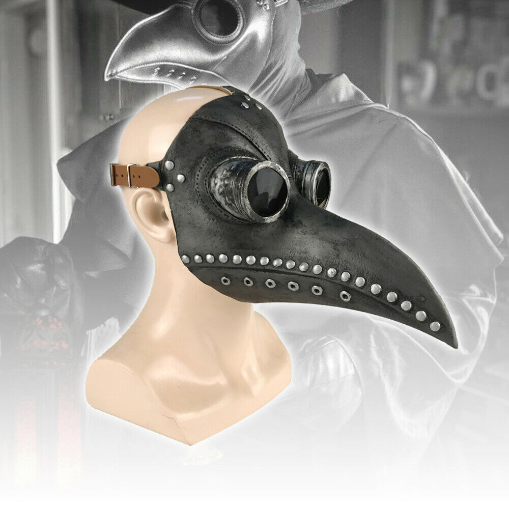 Plague Doctor Mask Steampunk Long Birds Mouth Beak Faux Latex for Halloween Accessories
