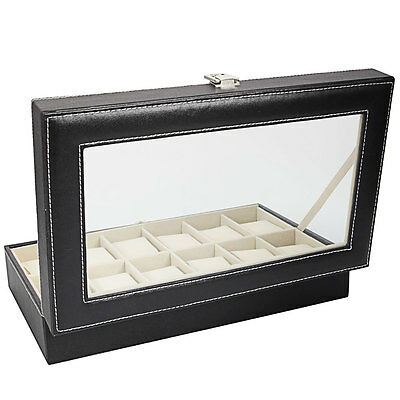 Modern Leather 12 Slot Wrist Men Women Watch Display Box Storage Organizer (Man Woman Store)