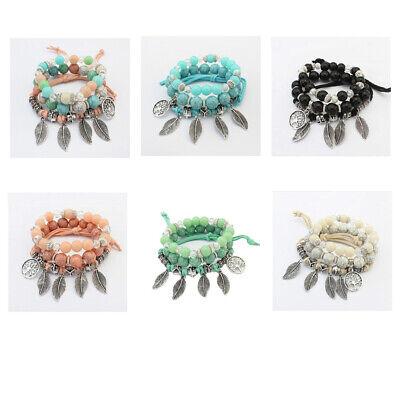 Bead Bracelet Ideas (UK BOHO BEAD LEAF CHARM BRACELET SET Tree of Life Stone Jewellery Gift)