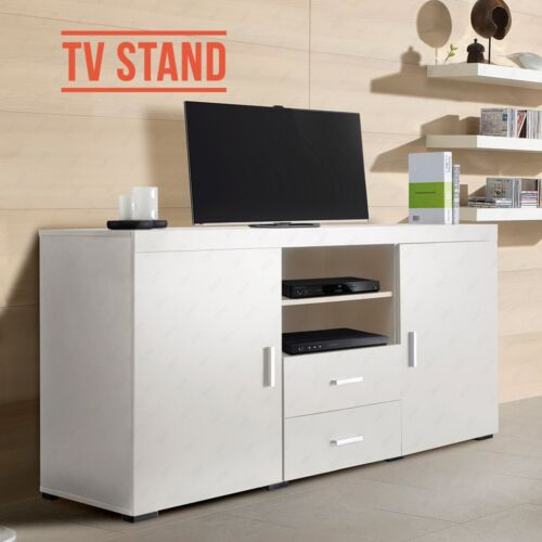 Stylish White TV Cabinet Unit Stand Sideboard with 2 Doors  # White Sideboard Tv Cabinet