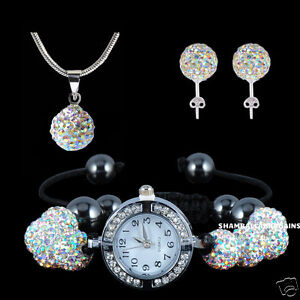 HIGH QUALITY 8PSC SHAMBALLA WATCH BRACELET + PENDANT NECKLACE+ STUDS! SET!