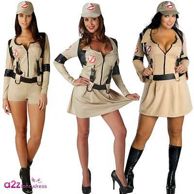 NEW Sexy Ghostbusters Ladies Fancy Dress Halloween 80s Ghostbuster Adult Costume