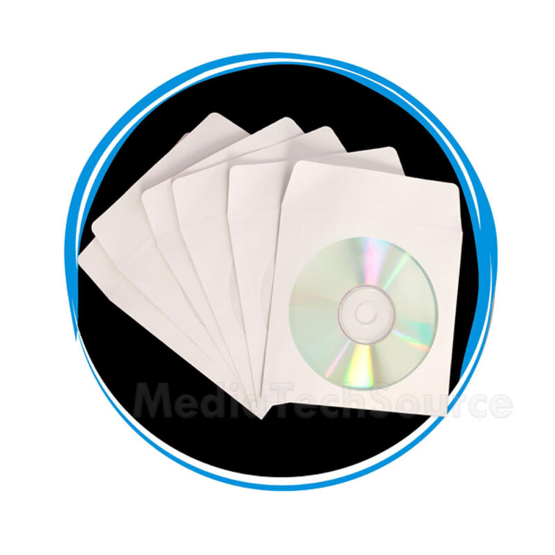 """1000 Wholesale CD DVD R Disc Paper Sleeve Envelope with 4"""" Window & Flap"""