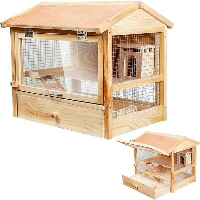 XL Nagerkäfig Hamsterkäfig Käfig Kleintierkäfig Mäusekäfig Holz klappbare Front