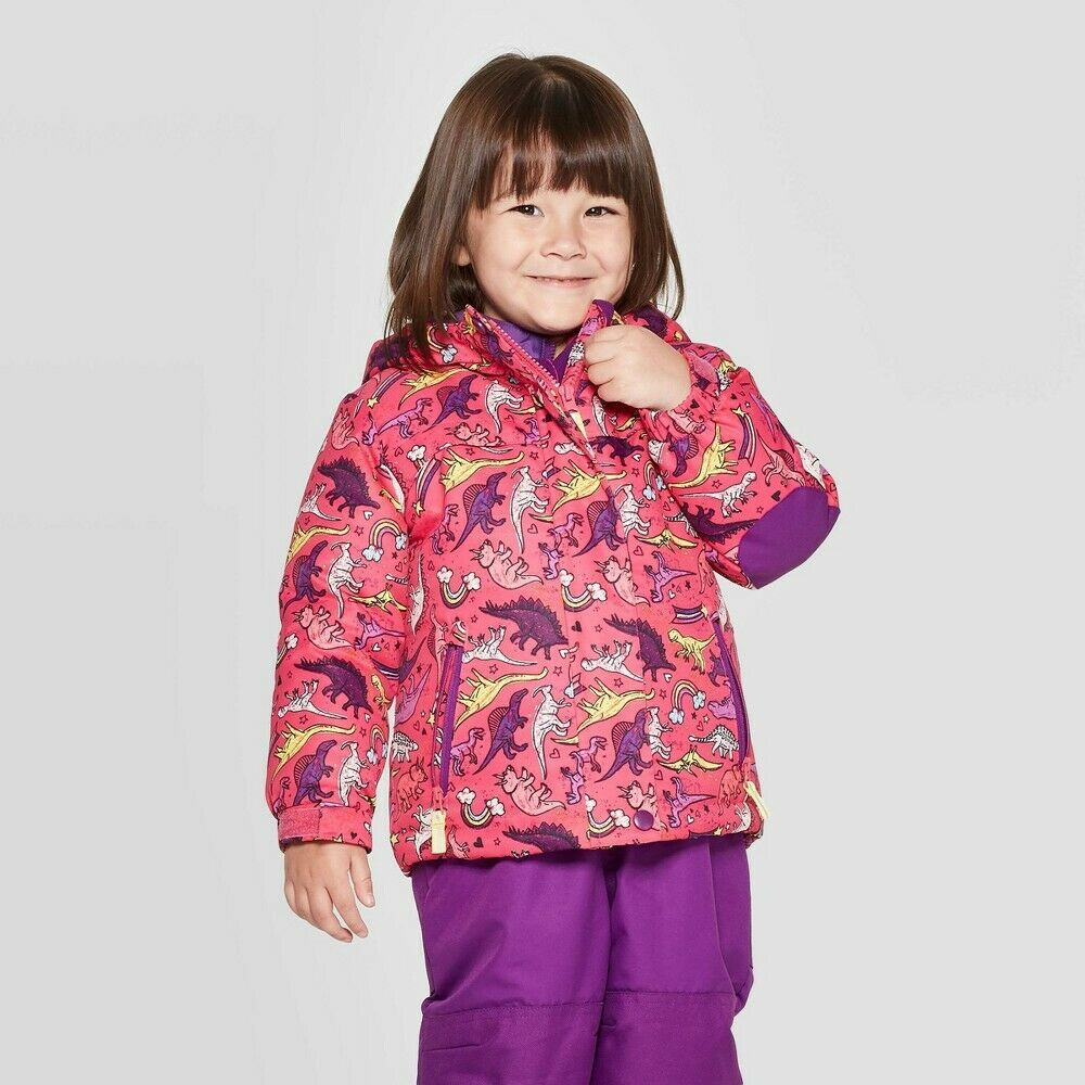 Toddler Girls'  3-in-1 Jacket – Cat & Jack – Pink Dino Print – 12M Baby