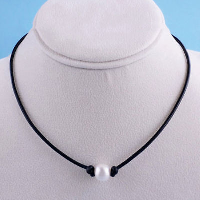 Women Fashion Single Pearl Black Leather Cord Choker Necklace Pendant Jewelry Pearl Pendant Leather Necklace