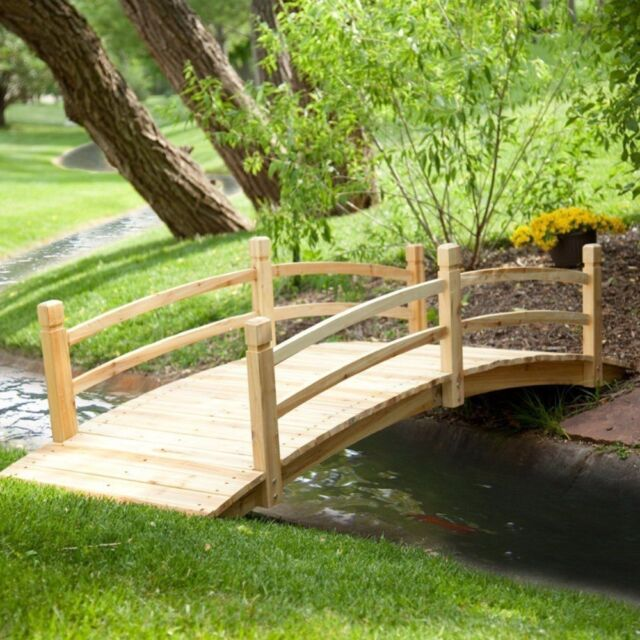 Superior Wooden Garden Bridge 8 Ft. Wood Pond Walkway Backyard Yard New Unfinished