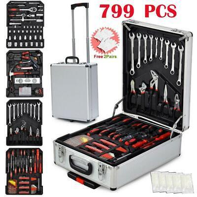 799 PCS Hand Tool Set Mechanics Kit Wrench Socket Toolbox Castors Trolley Keys