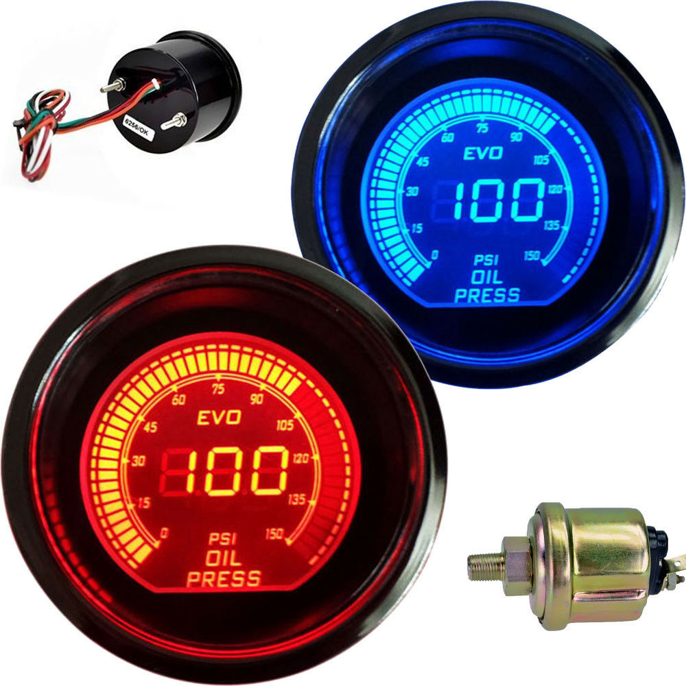 Universal Auto Gauges : Hot quot mm digital led car oil pressure meter gauge red