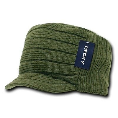 Green Knit Beanie Cap (Olive Green Knit Flat Top Visor Cap Hat GI Military Army Cadet Jeep Beanie Hats)