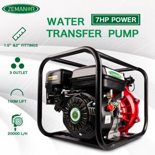 "Water Transfer Pump 7HP 1.5 ""&2"" High Pressure Petrol Irrigation 4 Stroke"
