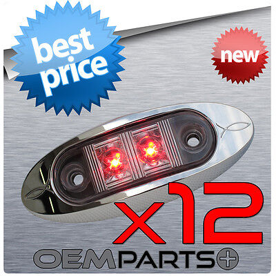 "X12 NEW 2"" OVAL OBLONG CLEARANCE SIDE MARKER RED LED LIGHT LAMP BEZEL CLEAR LENS"