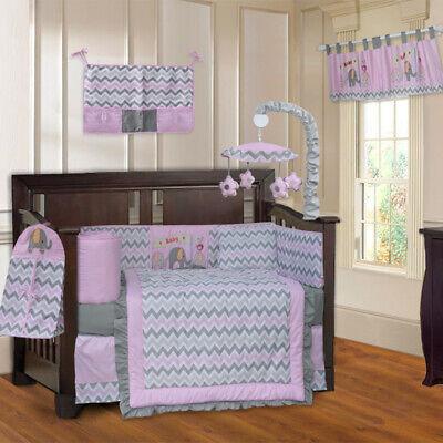 Pink Baby Bedding (BabyFad 10 Piece Elephant Pink Chevron Baby Crib Bedding)
