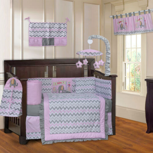 BabyFad 10 Piece Elephant Pink Chevron Baby Crib Bedding set