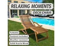 Deck Chair with Footrest Solid Acacia Wood-41806