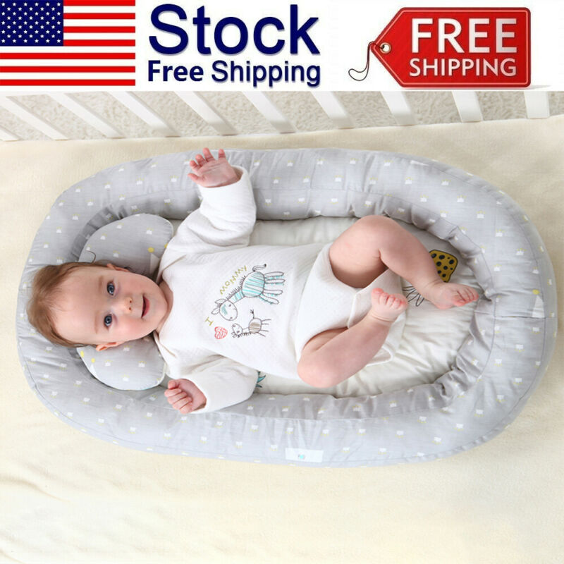 Baby Bassinet Bed Portable Baby Lounger Newborn Crib Breathable Nest +Pillow