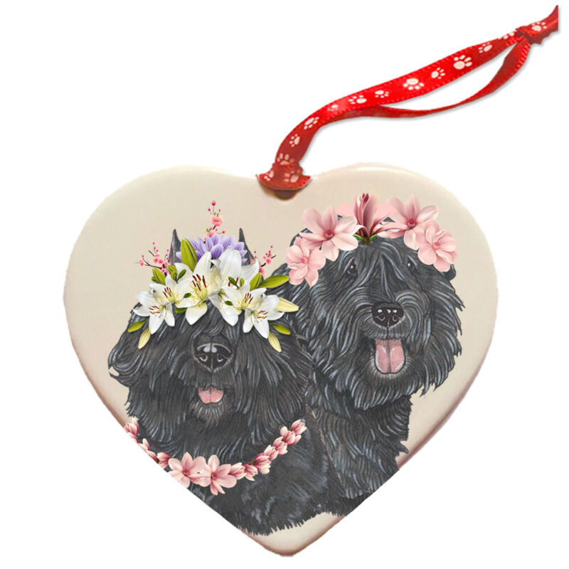 Bouvier des Flandres Dog Porcelain Floral Heart Shaped Ornament Décor Pet Gift