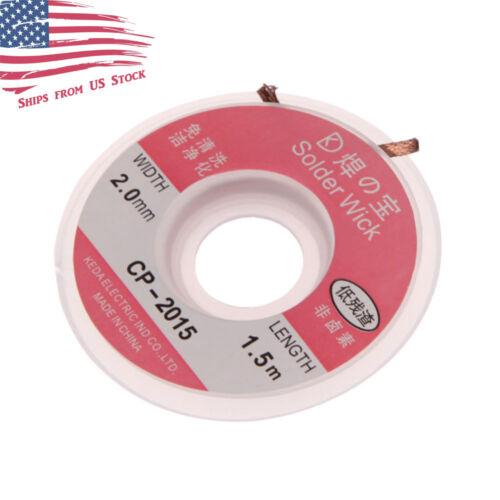 2mm x 5ft Desoldering Braid Wick Solder Remover w/ No Residue Rosin Flux US