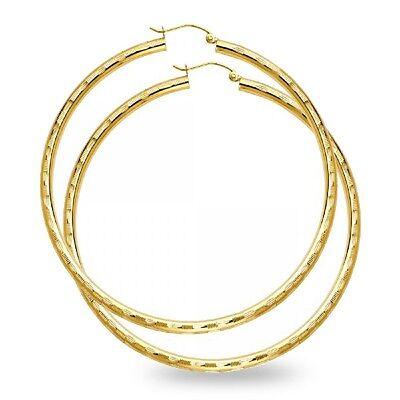 14k Yellow Gold Big Round Hoop Earrings Large Diamond Cut Fashion Polished