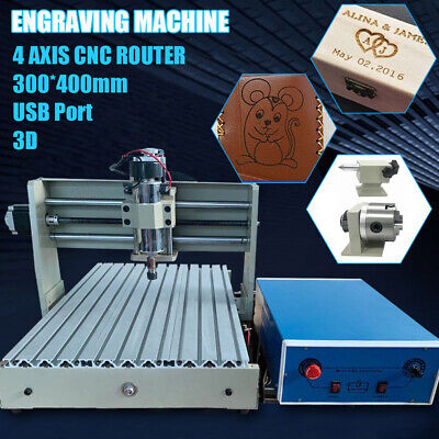 4 Axis 3040 Cnc Router Engraver Kit With Controller Usb Carving Milling Machine