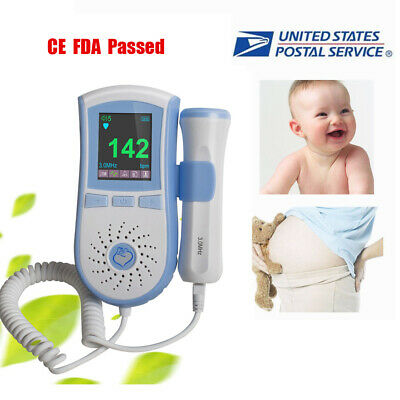 Usa Fetal Doppler 3mhz Probe Baby Heart Beat Monitor Lcd Backlight Free Gel
