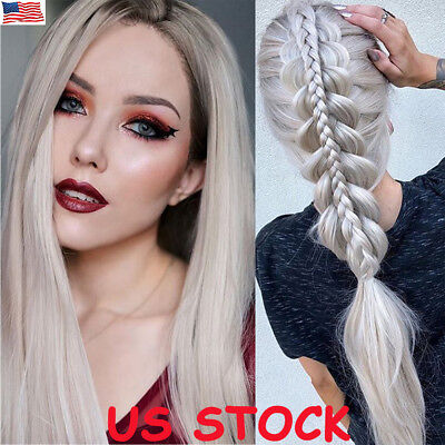Women Ladies Straight Long Wig Natural White Silver Blonde Linen Hair Full Wigs](White Hair Wig)