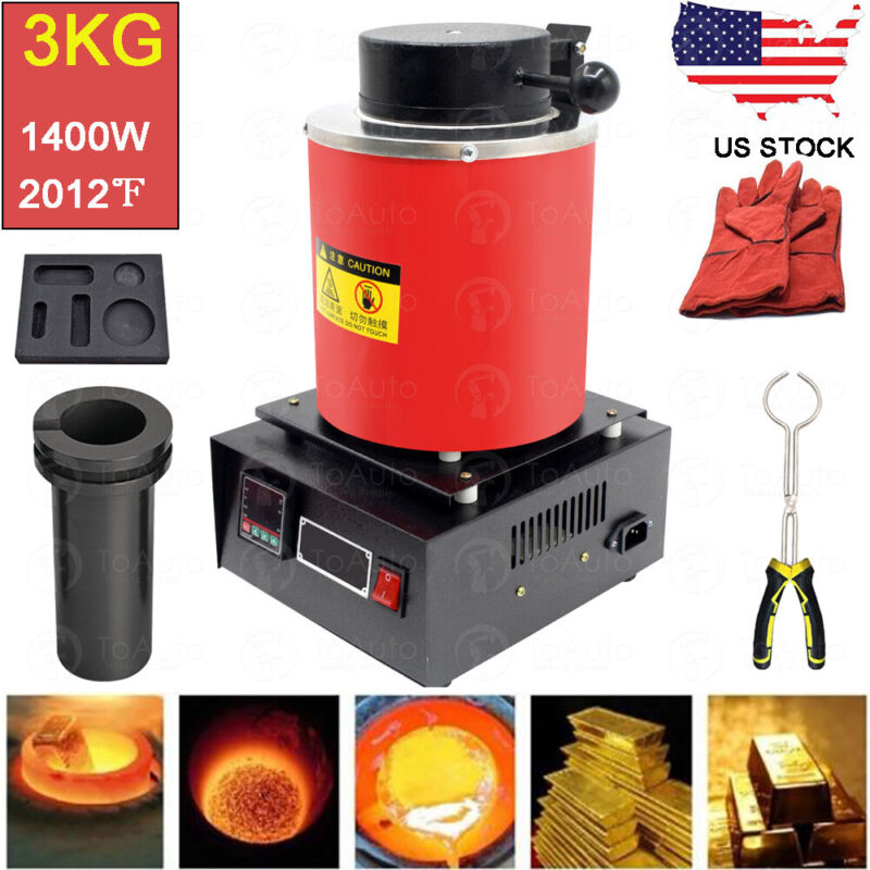 3KG Automatic Melting Furnace Digital Metal Gold Silver Jewelry Smelter Casting