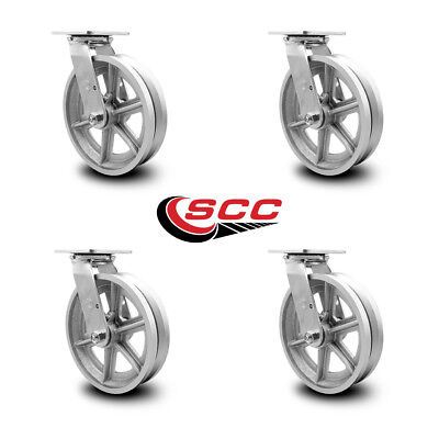 Scc 8 X 2 V Groove Semi Steel Wheel Swivel Casters - Set Of 4