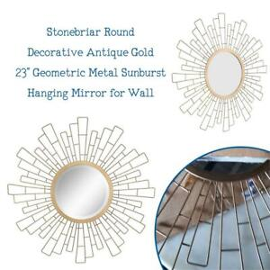 NEW Stonebriar Round Decorative Antique Gold 23 Geometric Metal Sunburst Hanging Mirror for Wall, Modern Boho Decor ...