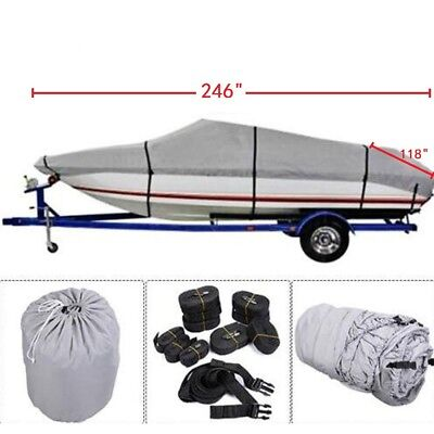 600D 17ft-24ft Heavy Duty Waterproof Trailable Fish Ski Boat Cover V-Hull w/ Bag