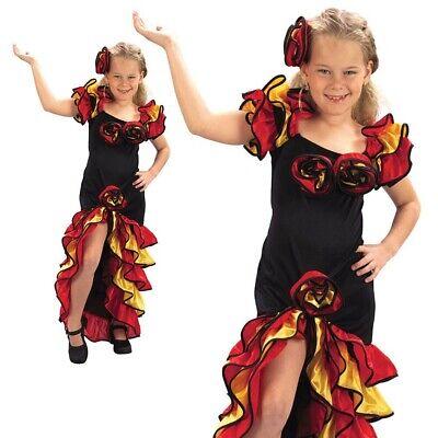 Rumba Mädchen Kostüm Kinder Flamenco Spanische Mexikanisches Kostüm Outfit - Spanische Mädchen Kostüm