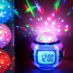 Music LED Star Sky Projection Digital Kids Alarm Clock Calendar Thermometer Toys